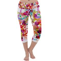 Abstract Colorful Heart Capri Yoga Leggings