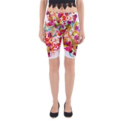 Abstract Colorful Heart Yoga Cropped Leggings