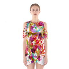 Abstract Colorful Heart Cutout Shoulder Dress