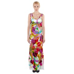 Abstract Colorful Heart Maxi Thigh Split Dress