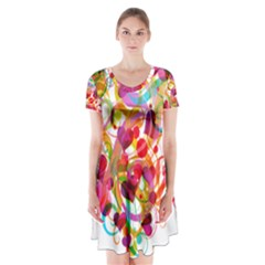 Abstract Colorful Heart Short Sleeve V-neck Flare Dress