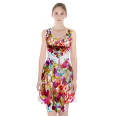 Abstract Colorful Heart Racerback Midi Dress
