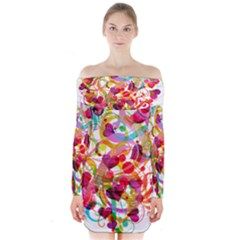 Abstract Colorful Heart Long Sleeve Off Shoulder Dress