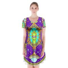 Alien Mandala Short Sleeve V-neck Flare Dress