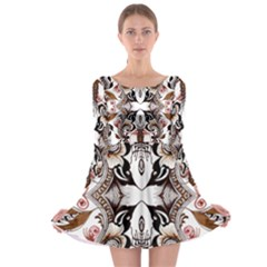 Art Traditional Batik Flower Pattern Long Sleeve Skater Dress