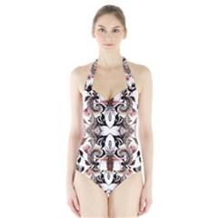 Art Traditional Batik Flower Pattern Halter Swimsuit