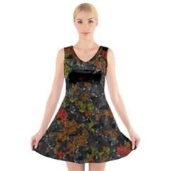 Autumn colors  V-Neck Sleeveless Skater Dress