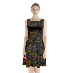 Autumn Colors  Sleeveless Chiffon Waist Tie Dress