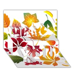 Beautiful Autumn Leaves Vector Miss You 3D Greeting Card (7x5)