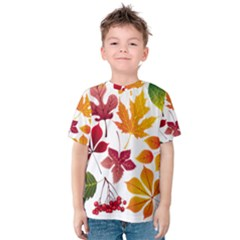 Beautiful Autumn Leaves Vector Kids  Cotton Tee