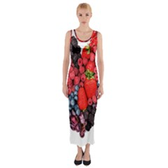 Berry Heart Fitted Maxi Dress