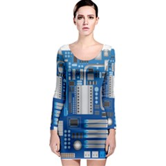 Blue Computer Mainboard Long Sleeve Bodycon Dress