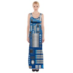 Blue Computer Mainboard Maxi Thigh Split Dress
