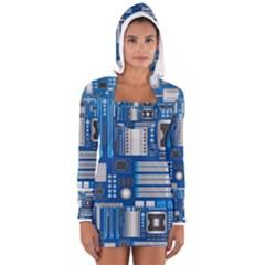 Blue Computer Mainboard Women s Long Sleeve Hooded T-shirt