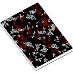 Red, white and black abstract art Large Memo Pads