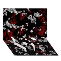 Red, white and black abstract art LOVE Bottom 3D Greeting Card (7x5)