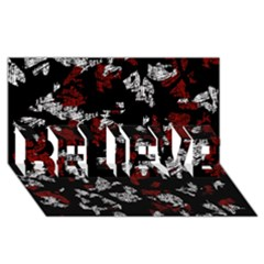 Red, white and black abstract art BELIEVE 3D Greeting Card (8x4)