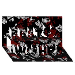 Red, white and black abstract art Best Wish 3D Greeting Card (8x4)