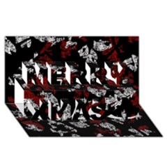 Red, white and black abstract art Merry Xmas 3D Greeting Card (8x4)