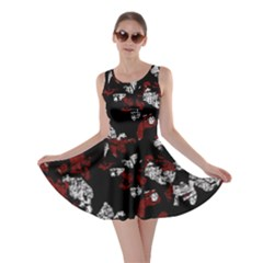 Red, white and black abstract art Skater Dress