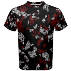 Red, white and black abstract art Men s Cotton Tee