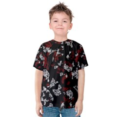 Red, white and black abstract art Kids  Cotton Tee