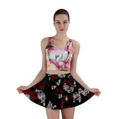 Red, white and black abstract art Mini Skirt