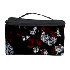 Red, white and black abstract art Cosmetic Storage Case