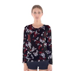 Red, white and black abstract art Women s Long Sleeve Tee