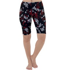 Red, white and black abstract art Cropped Leggings