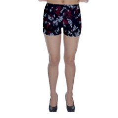 Red, white and black abstract art Skinny Shorts