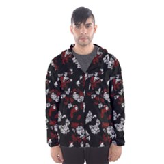 Red, white and black abstract art Hooded Wind Breaker (Men)