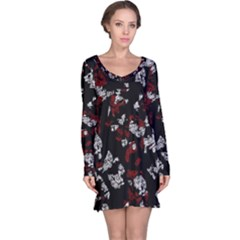 Red, white and black abstract art Long Sleeve Nightdress