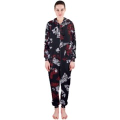 Red, white and black abstract art Hooded Jumpsuit (Ladies)