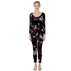 Red, white and black abstract art Long Sleeve Catsuit