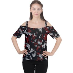 Red, white and black abstract art Women s Cutout Shoulder Tee