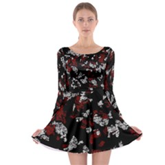 Red, white and black abstract art Long Sleeve Skater Dress