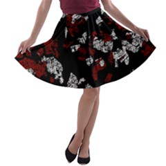 Red, white and black abstract art A-line Skater Skirt