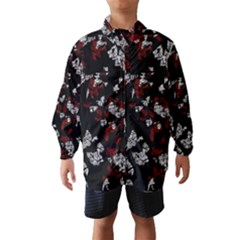 Red, white and black abstract art Wind Breaker (Kids)