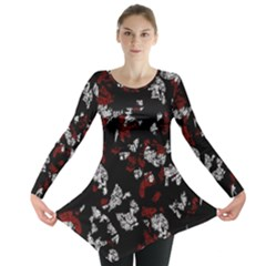 Red, White And Black Abstract Art Long Sleeve Tunic