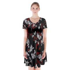 Red, white and black abstract art Short Sleeve V-neck Flare Dress