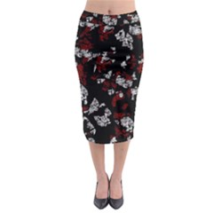Red, White And Black Abstract Art Midi Pencil Skirt
