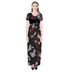 Red, white and black abstract art Short Sleeve Maxi Dress