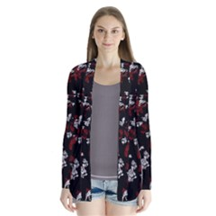 Red, White And Black Abstract Art Drape Collar Cardigan