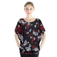 Red, white and black abstract art Blouse