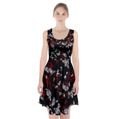 Red, white and black abstract art Racerback Midi Dress