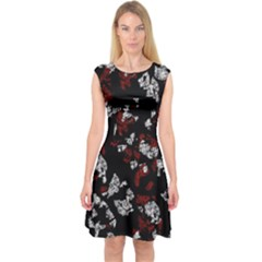 Red, White And Black Abstract Art Capsleeve Midi Dress