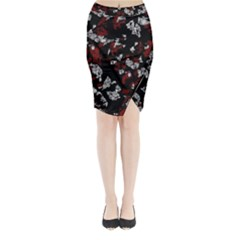 Red, White And Black Abstract Art Midi Wrap Pencil Skirt