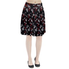 Red, White And Black Abstract Art Pleated Skirt