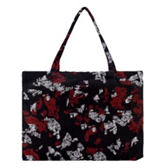 Red, White And Black Abstract Art Medium Tote Bag